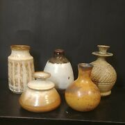 Group Of 5 Handthrown Ceramic Studio Art Collectible Vases Signed