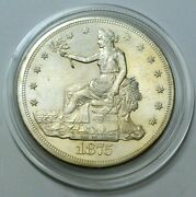 1875-s Trade Silver Dollar Key Date 1. Us Great Coin Strong Details In Capsule