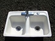 Vintage Cast Iron Kitchen Sink From The 1940's With Enamelware Porcelain Finish