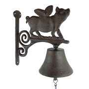 Flying Pig Dinner Bell Cast Iron Wall Mount Antique Style Rustic Finish Scrolls