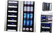 Wine And Beverage Refrigerator   24 Inch Built-in Dual Zone Wine Beer Cooler Re