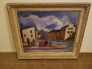 Signed And Framed Samuel Gorson 1951 Waiting For The Bus Oil Painting 36x30