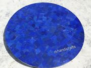 Lapis Lazuli Stone Kitchen Table Top Round Shape Coffee Table With Random Work
