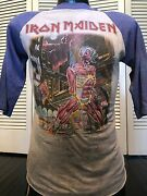 Vintage 1986 Iron Maiden Somewhere In Time Tour Shirt Size Small Rock Metal