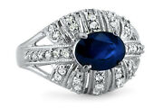 Real 1.85 Ct Blue Sapphire Gemstone Ring Solid 950 Platinum Diamond Rings Size 8