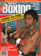 Original Vintage Gerry Cooney And Greg Page Autographed 1985 World Boxing Magazine