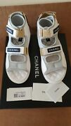 Auth. Nwb 21p Sandals Logo Flat Shoes Quilted White/grey 38.5/us 8.5 9