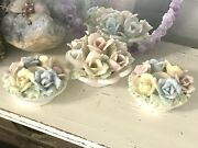 Vintage Shabby English Roses Candle Holders Easter