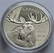 2012 Canada Bull Moose From The Moose Family 20 1 Oz. Fine Silver Proof Coin