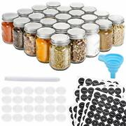 24 Pc Glass Mason Spice Jar Bottle 4oz Spice Container Label Shaker Airtight Lid