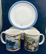 """Disney Winnie The Pooh 2 Mugs Classic And Houston Harvest A Simply Pooh Plate 7 ½"""""""