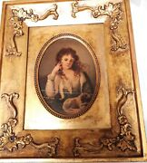Set Of 2 Antique Hand Oil Painted Portraits In Gold Plated Frame