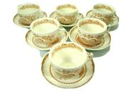 Set Of 6 Furnivals Quail Brown China Flat Cups And Saucers Birds Floral England