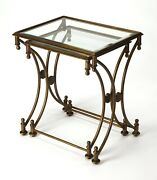 Chartres Nesting Tables - Set Of Two - Antique Gold Finish - Free Shipping