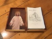 New American Holy Bible Pope John Paul Ii Catholic Red Letter Edition Wooden Box