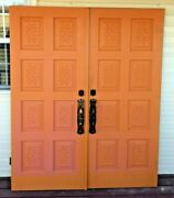Antique Double Front Entry Orange Wooden Doors And Security Doors Mid-century Rare