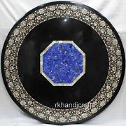 Mother Of Pearl Work Inlay Dining Table Top Black Marble Office Meeting Table