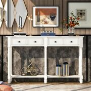 Console Table Sofa Table W/ Two Storage Drawers And Bottom Shelf For Living Room