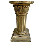 Vintage Roman Style Column Bust Plant Stand Pedestal Real Carved Solid Wood
