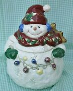 Cookie Jar Snowman Holding Ornaments Royal Doulton Winter Collectible 11 Tall