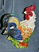 Cookie Jar Colorful Rooster Hand Painted Ceramic Collectibles Kitchenware 13 T