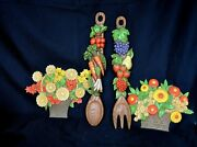 Wall Decor Vintage Two Floral Baskets And Fork Spoon 1975 Decorative Wall Hangings