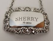 Silver Decanter Label / Ticket Sherry Hallmarked Francis Howard Sheffield 1977