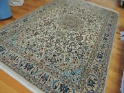 4x6 Nain Oriental Area Rug Wool Silk Hand-knotted Blue Beige Rust Navy
