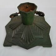 Antique Art Deco German Iron Signed Christmas Tree Stand Green Faded Gold Heavy