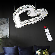 Modern Crystal Chandeliers Heart-shaped Led Ceiling Pendant Lights W/ Remote Usa