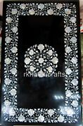 Black Dining Table Top Luxurious Art Marble Reception Table With Mother Of Pearl