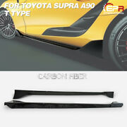 For Toyota 19+ Supra A90 T Type Carbon Fiber Side Skirt Addon Extension Trim
