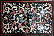 Black Marble Living Room Table Top Multi Stone Dining Table With Antique Work