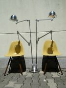 Vintage French Modernist Industrial Jielde Reading Brushed Double 3 Arms