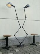 Vintage French Modernist Industrial Jielde Reading Graphit Double 4 Arms