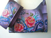 Anuschka Peonies And Paisleys Hand Painted Leather Hobo Purse And Wallet - Nwt