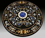 Black Marble Office Meeting Table Hand Crafted Dining Table With Peitra Dura Art