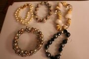 Lot Of 5 Costume Jewelry Bracelets Various Styles Including 2 Imitation Pearl