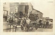 Candidate Holds The Reins, Mules Pull The J.h. Hans' Wagon, Minster Ohio Oh Rppc
