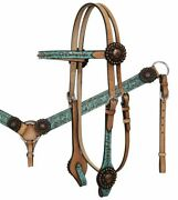 Teal Filigree Overlay Light Oil Browband Headstall And Breast Collar And Reins New