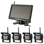 7 Inch Car Wireless Monitor+4x Wireless Aluminum Camera Rear View Back Up System