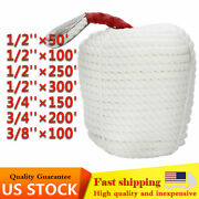 Us Stock White Twisted Braid 3strand Nylon Anchor Rope Boat Thimble Rigging Line