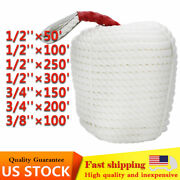 Us Stock White Twisted Braid Three-strand Anchor Rope Boat Thimble Rigging Line