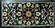 Black Marble Dining Table Top Floral Pattern With Stones Living Room Table Top