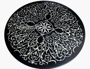 Round Shape Marble Dining Table Top Hand Inlaid Hotel Table Top Mother Of Pearl