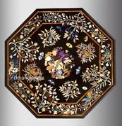 Marble Dining Table Top With Pietra Dura Art Black Lawn Table From Vintage Craft