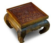 Coffee Table Solid Wood 19 11/16x19 11/16in Elephants Living Room Wooden Glass