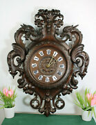 Top Antique German Black Forest Wood Carved Dragon Gothic Castle Wall Clock