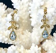 Antique Style Aquamarine And Pearl Drop Earrings - 9ct Gold - 3.19grams. Bnwt