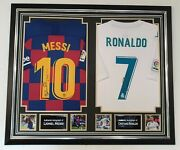 Rare Lionel Messi And Cristiano Ronaldo Signed Shirt Autographed Display
